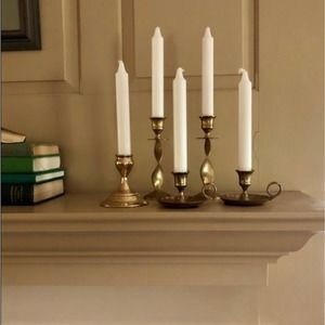Vintage Brass Candlesticks - Lot of 5